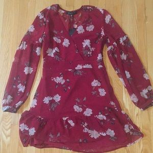 Dark red floral dress